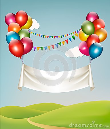 Happy birthday banner with balloons. Vector Illustration