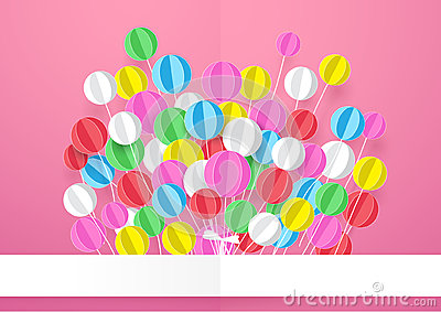 Happy Birthday. Banner with Colorful Balloons. Vector Illustration
