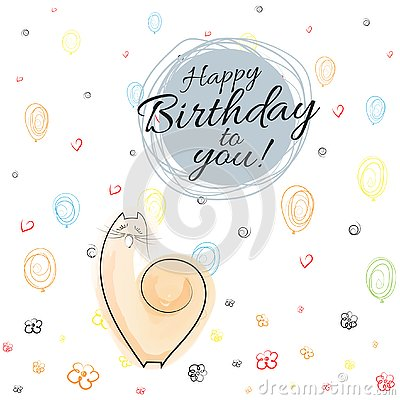 Happy birthday banner on festive background with balloons, hearts, flowers, spirals Drawing singing cat Sketch Line background Vec Vector Illustration