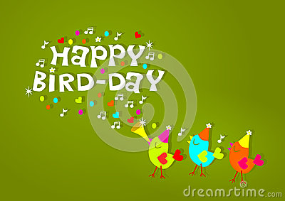 happy birthday birds greeting card stock illustration  image, Birthday card