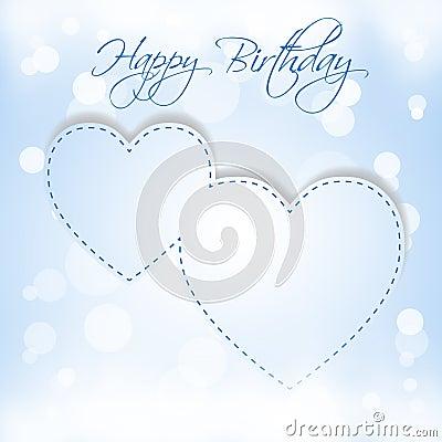 Happy Birthday blue hearts