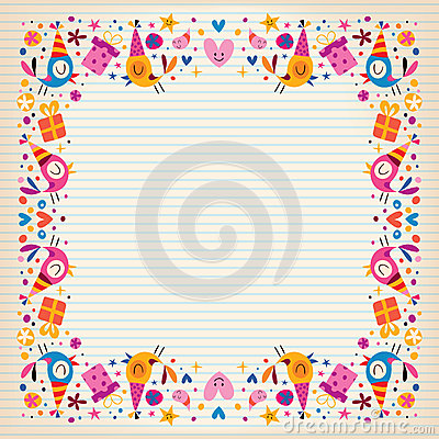 Happy Birthday Border Lined Paper Card With Space For Text – Lined Border Paper