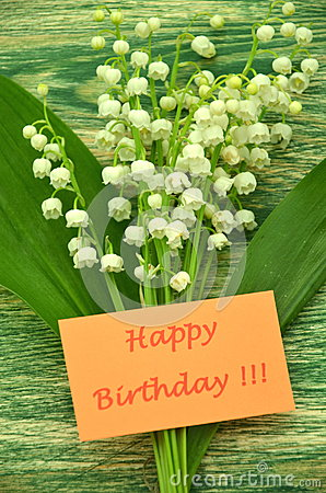 Happy Birthday And Bouquet Of Delicate Fresh Lilies Of The