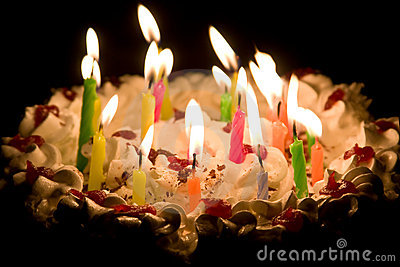 Birthday Cake Candles On Happy With Burning Stock Photos Image