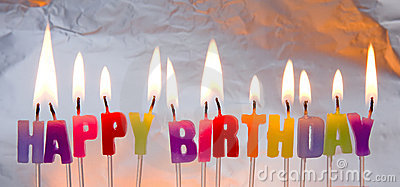 Happy Birthday Candles Lighted. Royalty Free Stock Image - Image: 17627706