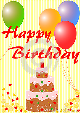 Happy Birthday card with a birthday cake