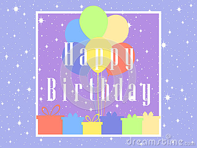 Happy Birthday card celebration banner. Balloons and gifts. Vector Vector Illustration