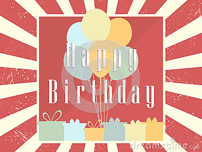 Happy Birthday card celebration banner. Festive retro poster. Balloons and gifts. Vector Vector Illustration