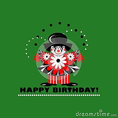 Happy birthday card with clown