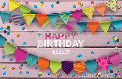 Happy Birthday card with colorful paper garlands and confetti Vector Illustration