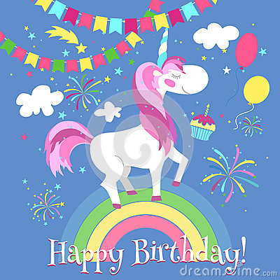 Happy birthday card with cute unicorn. Vector template. Unicorn card ...