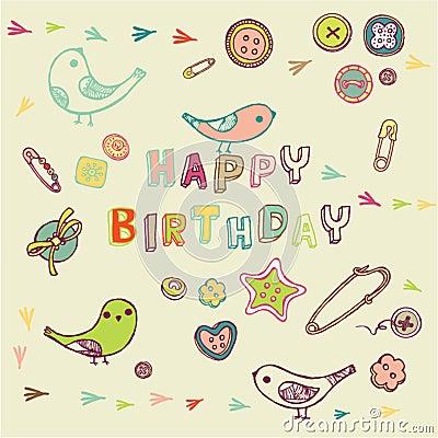 Vector Illustration: Happy Birthday card design. Image: