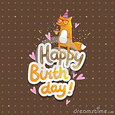 Happy Birthday SantaFox! Happy-birthday-card-hipster-fox-background-cute-cartoon-vector-holiday-party-template-greeting-postcard-image-41858574