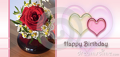 Happy birthday card with love hearts, little posy of chamomile