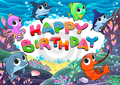 Happy Birthday Card With Marine Life Stock Vector Image