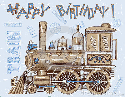 Happy Birthday Card With Old Locomotive On Blue Stock ...