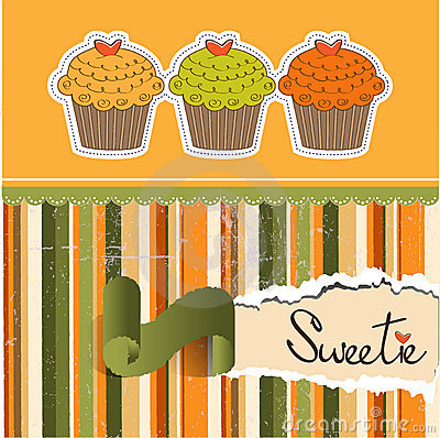 Happy Birthday card with sweet cupcake