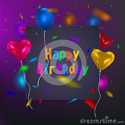 Happy Birthday card template with a purple background and colorful balloons. Vector eps 10 format. Vector Illustration