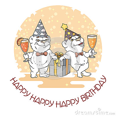 Happy Birthday card with two cute bears. Vector Illustration