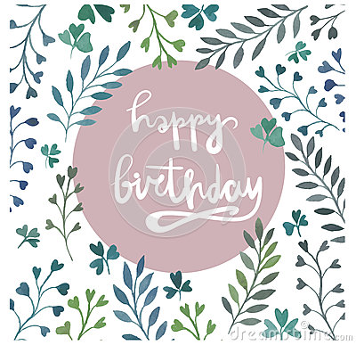 happy birthday. template for birthday cards. hand lettering. stock, Birthday card