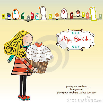 Free Happy Birthday Card With Girl And Cupcake Royalty Free Stock Photos - 21741348
