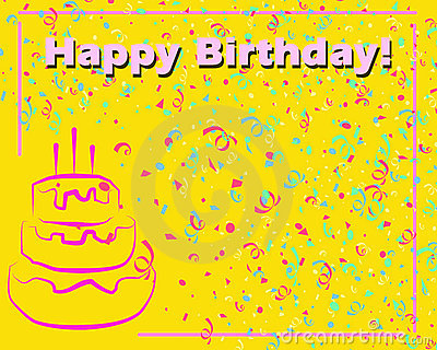 Happy Birthday Card Yellow Stock Images Image 11718734