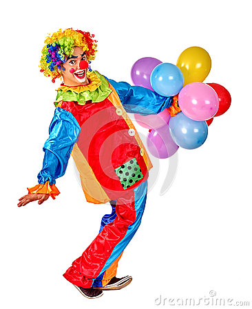 Free Happy Birthday Clown Playing  Bunch Of Balloons Royalty Free Stock Photos - 61961128