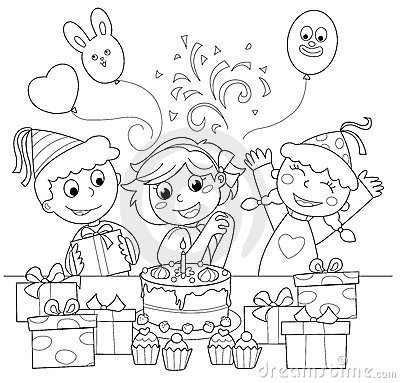 Happy birthday! Coloring illustration
