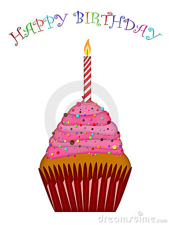 Happy Birthday Cupcake Pink Frosting and Candle