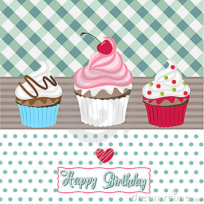 happy birthday card with cupcake royalty free stock image  image, Birthday card