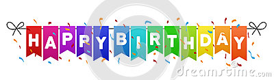 Happy Birthday flags banner. Vector Illustration