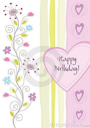 Free Happy Birthday Floral Greeting Card Royalty Free Stock Image - 19637226