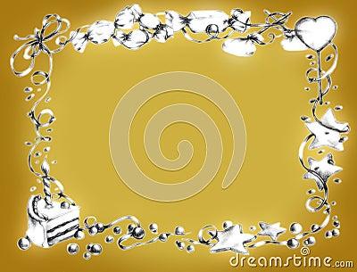 Happy birthday frame - gold