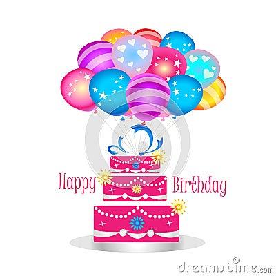 Happy Birthday Girly Cake Royalty Free Stock Photo Image