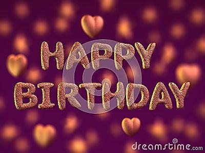 Happy birthday, glitter letters