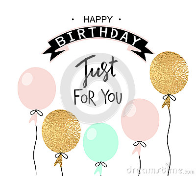 Free Happy Birthday Greeting Card And Party Invitation Template With Balloons. Vector Illustration. Stock Images - 96238234