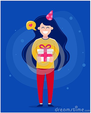 Happy Birthday greeting card. Girl holding a cake with candles. Cartoon Illustration