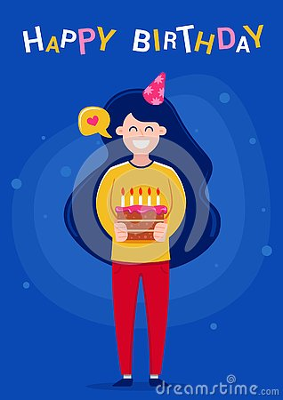 Happy Birthday greeting card. Girl holding a cake with candles. Vector Illustration