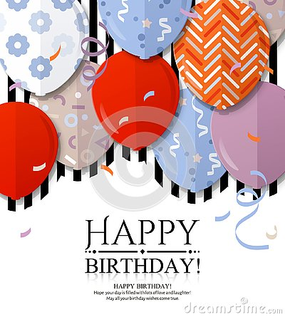 Free Happy Birthday Greeting Card With Patterned Balloons In Flat Style. Confetti And Black Stripes On Background. Vector. Royalty Free Stock Photography - 136498067