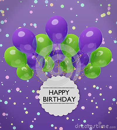 Free Happy Birthday Greetings With Violet And Green Balloons 3d Rendering Royalty Free Stock Photo - 112005865
