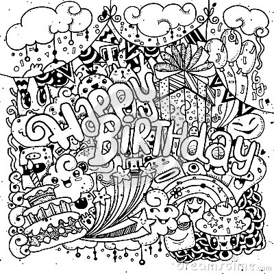 Free Happy Birthday Hand Drawn Sketch Set With Doodle Stock Images - 67938784