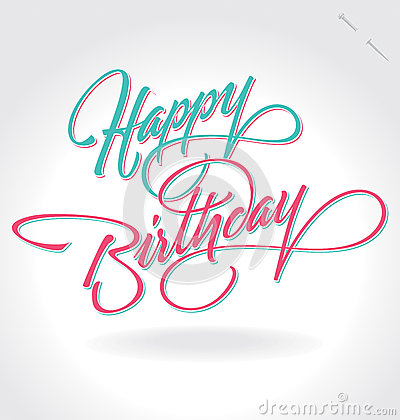 Free  Happy Birthday  Hand Lettering (vector) Royalty Free Stock Photography - 26541357