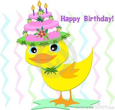 Happy Birthday Hat On A Duck Stock Photography - Image ...