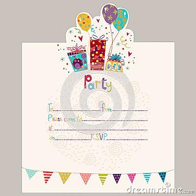 Happy birthday invitationrthday greeting card with gifts and happy birthday invitationrthday greeting card with gifts and balloons in bright colors sweet cartoon vectorrty invitation stopboris Gallery