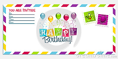 Happy birthday invitation card stock photo image 28423640