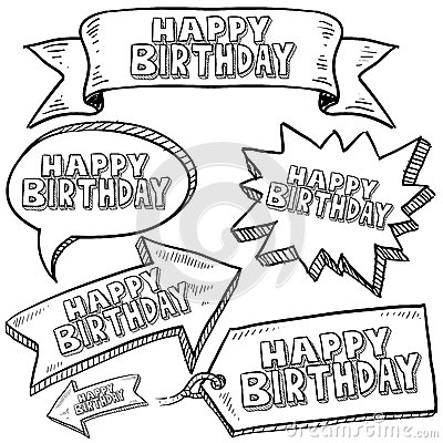 Happy Birthday labels and banners