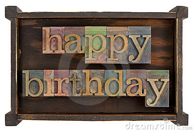 Happy birthday in letterpress type