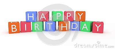 Happy birthday letters and words rendered on cubes. Stock Photo