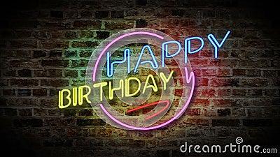 Happy Birthday Neon Light Stock Video Video Of Happy