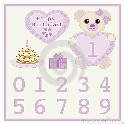 Happy Birthday Newborn Announcement Stock Vector - Image ...